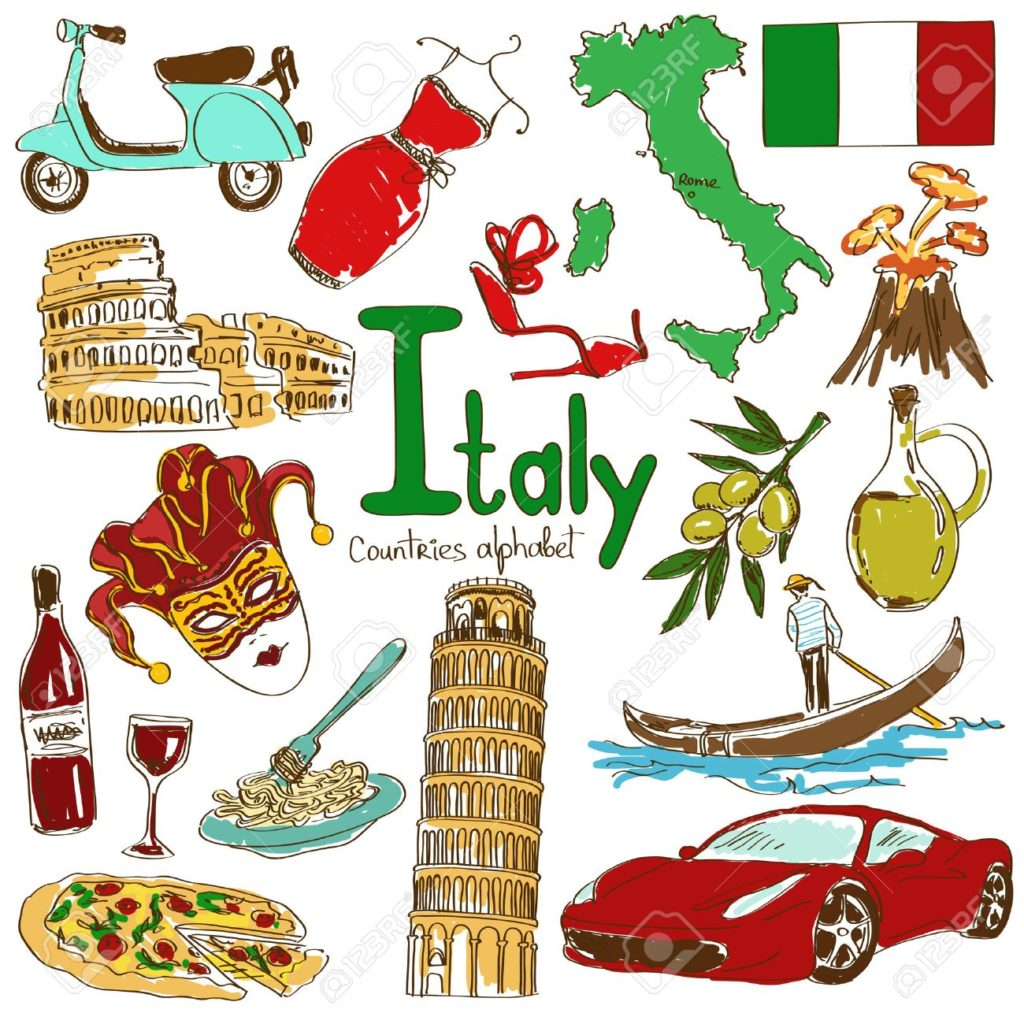 29857828-fun-colorful-sketch-collection-of-italy-icons-countries-alphabet